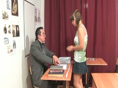 Cute little brunette hair receives nailed by her teacher
