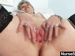 Busty granny in uniform stretching her older love tunnel