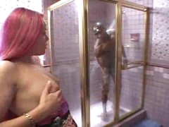 Black gal sucks monster black cock in shower