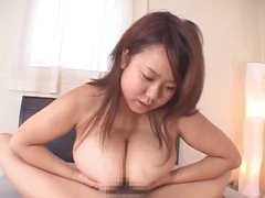 Titjob from chubby Japanese cutie makes him cum