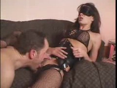 Blindfolded bitch in corset licked and fucked