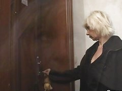 Blond granny allows him drill her muff