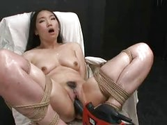 Hot Asian girl tied and fucked with fucking machine