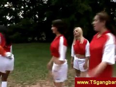 Soccer playing tgirls overrule keeper