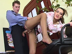 Lusty mature beauty in control top tights luring policeman into fucking frenzy