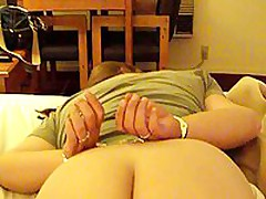 This corpulent mature is willing to go some lengths to spice up her marital sex life. In this stolen homemade video, that hottie is featured wearing handcuffs face down on their bed, while her husband gently and carefully lubes her asshole, hidden well betwixt her immense ass cheeks.