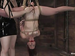 Claire Adams has Trinity Post's cunt wired. She's not merely fastened up but upside down, and gagged to boot. She's got a metal plug in her cunt and Claire's using a vibrator on her clit, making her crave to cum. This babe gets permission to cum and that babe does several times, moaning loudly throughout her ball gag.