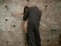 Our cute wench Casey wears a pair of high heels boots and no thing more. This honey looks worthwhile like that and the executor is pleased to chastise her hot body. He tied her on the wall, ball gagged her and used a rope to pull her body up while this babe was still tied on that wall. Look how much this babe suffers and endures for our pleasure