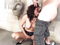 She's a obscene whore and does everything a man asks her. Here she is, in an abandoned public toilet engulfing this chap and then licking his anus before that guy bonks her from behind. She's a cougar that enjoys a wonderful obscene fuck and probably will have a fun his jizz too so stick with us and watch this doxy in full act