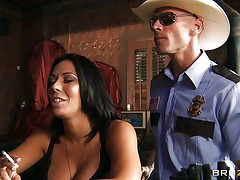 This lustful policeman finds a worthwhile milf in a bar and when that babe sees him that babe grabs him by the collar and begins getting horny. He takes her big sexy boobs out squeezing and kissing 'em and after that grabs this slut by the neck and gives her his cock. See her as that babe sucks his dick with pleasure, is that babe going to get some spunk?