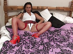 Anna likes to dress like a school gal but she's not one anymore, the Fifty y. o. cunt has a lot greater amount experience! Anna still enjoys a hard pussy rubbing just like that sweetheart used to in the old times so here u have it, playing alone with her body and rubbing these tits and pussy. Let's watch if that sweetheart will remove her panties