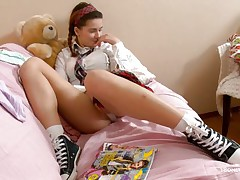 Here juvenile chick Klara is entertaining her viewers by showing her nice, smooth and handsome body with sexy boobs and cherry like hard nipples on the top of those. Then her lust increases and her pants automatically goes off and a delicious twat fingering is taking place which will make u horny.