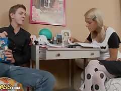 Celia and her boyfriend are studying hard, trying to get good grades but all her boyfriend can think about is that hot body out of clothing on. He pretty soon gets her hot and naked, burying his face in her hairless beaver, making her moan and writhe on the bed before getting on top, plowing her deeply.