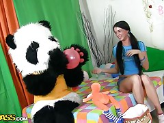 A fascinating girl's party can't be complete out of her panda bear. Sweet Jess doesn't needs presents or her friends, that hottie only wants her big fluffy panda and his attention. They have great fun, playing with balloons and eating cake. But that is not enough, Jess is a big girl now and that hottie want Panda to make her feel that.