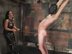 Marioara is a slut from Romania, this doxy has the skills to satisfy each chap that wants some domination and pain. Here this babe is in full act taking precious care of her sex slave, Lefty, and this babe does her most good 1st by using a rope betwixt his legs and then whipping him, now this babe thonged on a dildo, what will this babe do with it?
