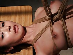 Have a look at this hawt cunt, she's all tied up and hangs there quietly until that babe gets roughly throat screwed with a dildo. The intensity and brutality of the fucking makes our slut horny! She's not only fucked, the executor slaps her and strangulates her too. After all that he leaves the whore hanging in the dark