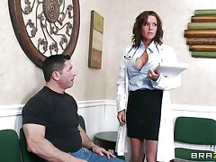 Veronica knows how to take care of her patients. She examines this man and then makes a decision that the perfect treatment for him would be a mean blowjob. The sexy milf doc opens her mouth with fun and slides her lips and tongue in that large hard penis. Will she receive repaid with a large load of sperm on her face?