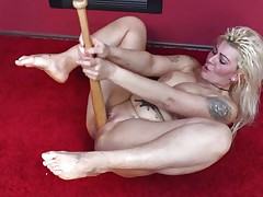 Cuz dildos and hard cocks are not enough anymore I one time used a baseball bat to fuck myself. It felt so nice ripping my pussy with that bat and the merely thing I could thought was to stick it deeper in me. Hope u studs have a fun the show and u will stay with me as I have a lot more to play with!