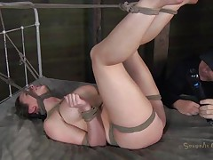 Pretty Chanel is bound hard on the bed. Rope is used to keep her legs up and her neck almost strangulated. The executor plays with her pink bawdy cleft and rubs it hard with a sex tool before sticking his dick inside it. She moans and her large titties bounces at every jack off this chab gives her. Will she acquire cum on her pretty face?