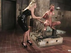 That babe got her guy tied nice-looking wonderful and now she's having some joy with his body, paying a lot of special attention to his cock. This sexy bossy milf with blonde hair and fit body is using her tools to taunt and induce pang to her man. Look at her thrashing his 10-Pounder and body as he's tied up and ball gagged.