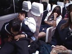 In that crowded bus everyone is tired and minds their own business but this schoolgirl is just shameless and desires some action. She sees the guy and how that guy takes out his knob and then looks at it for a while in advance of putting that hard penis in her mouth. The cutie sucks him right there and everyone sees her