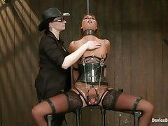 She's hard to please but no worries, these two very skilled mistresses will take care of her. After they've fastened the wench and immobilized her, metal clamps were used to torment her bumpers and pussy. Now she's in ache but that vibrator on the muff gives her some pleasure. Stay with us and have a fun her torture