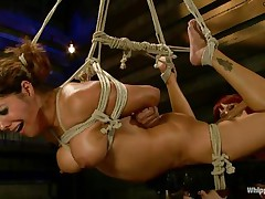 Francesca Le is a hot milf who's bound and getting vibed and dildo-fucked by Maitresse Madeline. Francesca receives permission to cum and this honey does. Next the position changes and Maitresse receives the ding-dong and plunges deep into Francesca's taut asshole, making her moan loudly through her ball gag.