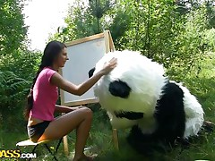 Mr. Panda is outside in the midst of nature and the thin brunette hair sweetheart that's with him wishes to prove him what an artist this babe is. Well, this babe may not be good at painting but this babe surely knows how to make him glad by engulfing his big panda cock. Stay with 'em and have a joy the wilderness of the forest and much greater quantity