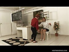 Kicsi was a bad boy and fooled around in the classroom making his teacher very very angry and now that honey has to punish him with some spanks on his ass. This guy screams as that honey does that but this won't softer her, instead it makes the mature teacher lewd so that honey rubs his hard shlong and sucks it worthy and slow then offers her cum-hole to him to lick.