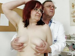 Dark brown aged lady is lying on the gynecologist's table and the doctor is examining her pussy. This chap is wearing gloves and fingering her cookie right after that chap examines her nice small tits. This chap is inserting a thin medical tool in her tight ass. You really needs to watch where the doctor ends up.