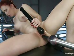 Juvenile Melody Jordan is loving this fucking machine and a sex toy for her clit. Her love tunnel takes a pounding as this hottie turns the dial up, making the machine fuck her even faster. After a short break, this hottie goes nearly upside down to acquire drilled, her shaved snatch taking a beating that this hottie loves. She's hot!