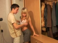 When 2 couples come home after a double date all excited and horny and one of 'em occupies the room for some ardent lovemaking the other couple has no other choice but to fuck right in a corridor. The dude can't resist the temptation to nail this glamorous golden-haired right on the floor and have her bend over to drill her constricted juvenile bawdy cleft from behind. U really gotta watch this wild legal age teenager fucking going wild and out of control!