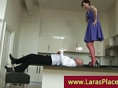 Liciking cookie over the balcony kitchen by a lustful gutsy guy