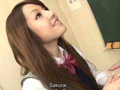 Hot dark brown hair student Ria Sakurai receives exposed for school principal after the classes and receives her slit stimulated by vibrator in advance of that playgirl gives head to him and other professors on her knees and getting banged hardcore in group sex session on the desk