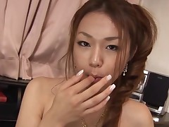 Busty Oriental gal with shaggy vagina feels dick and twat in hole