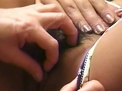 Gorgeous oriental slut on sexy undies lets her snatch get licked by her...