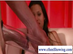 Cfnm girls pumping and blowing dick