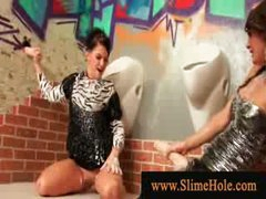 Nasty wet milfs covered in bukakke ball cream playing with dick from the gloryhole