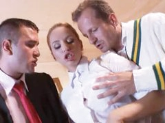 Prep school gal fucked by country club dudes
